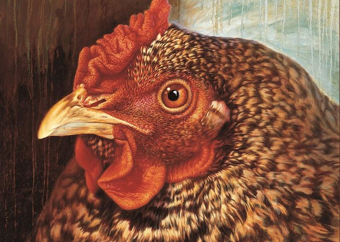 Chicken Greeting Card featuring the painting Eleanor3 by Hans Droog
