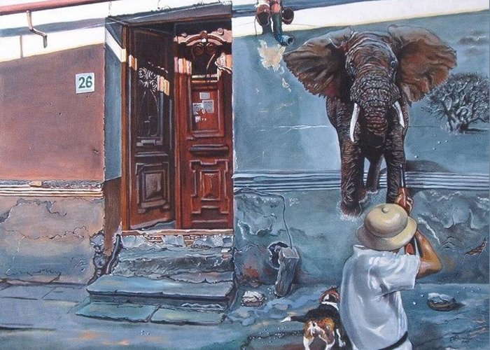 Surreal Greeting Card featuring the painting Elephant Hunter's Hallucination by Ramaz Razmadze