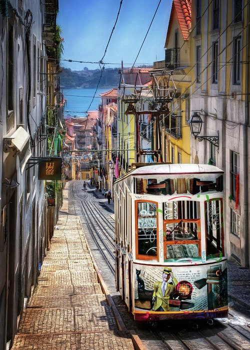 Lisbon Greeting Card featuring the photograph Elevador Da Bica Lisbon by Carol Japp