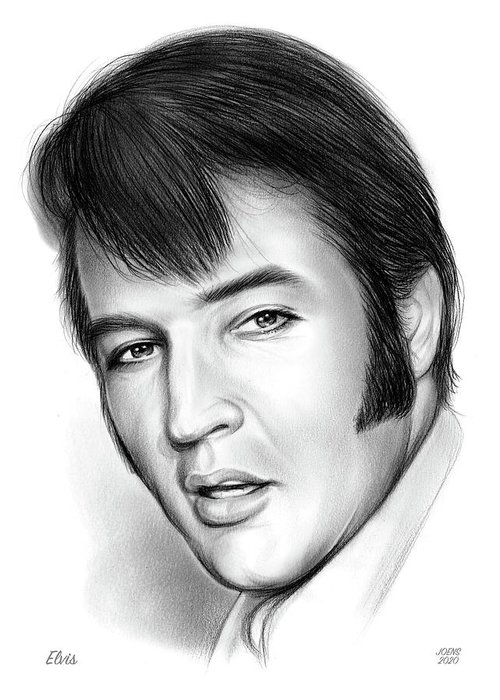 Elvis Presley Greeting Card featuring the drawing Elvis 3 by Greg Joens