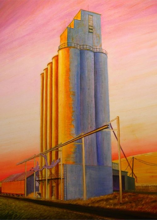 Grain Greeting Card featuring the painting Endicotte Silos by Leonard Heid