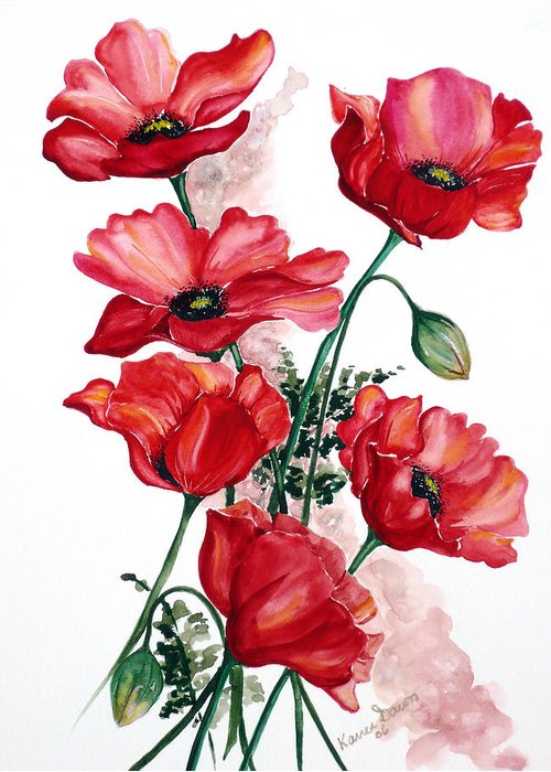 Original Watercolor Of English Field Poppies Painted On Arches Watercolor Paper Greeting Card featuring the painting English Field Poppies. by Karin Dawn Kelshall- Best