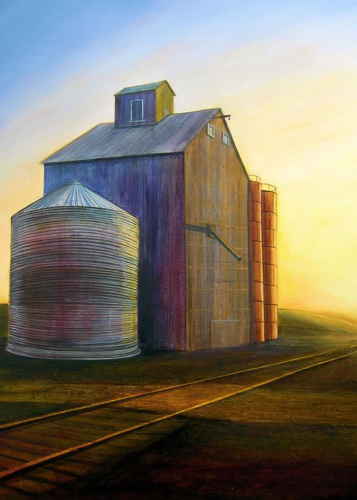 Silos Greeting Card featuring the painting Estes Road Twilight by Leonard Heid