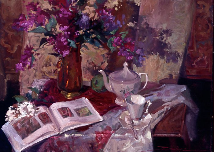 Still Life Painting Greeting Card featuring the painting Evening Study by Betty Jean Billups
