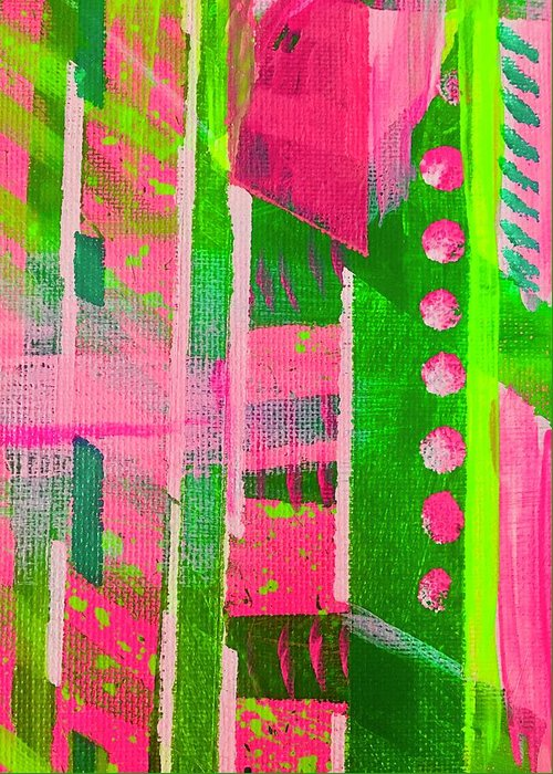Pink Greeting Card featuring the painting Excited Pink Plaid by Sheila J Hall