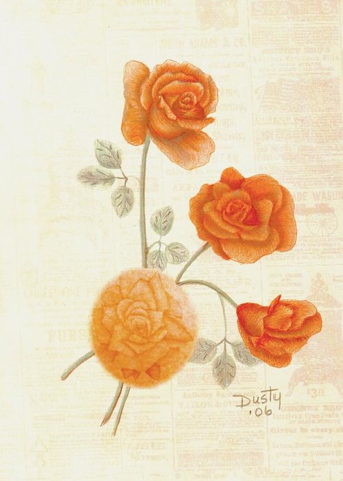 Rose Greeting Card featuring the drawing Faded Memories by Dusty Reed
