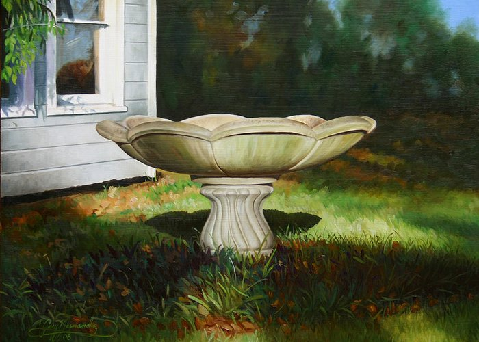 Concrete Fountain Greeting Card featuring the painting Fall Afternoon by Gary Hernandez