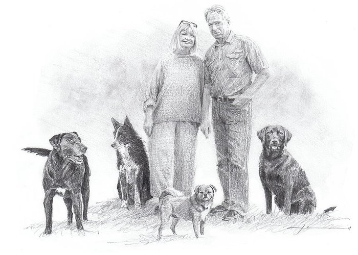 Www.miketheuer.comfamily Parents And Dogs Pencil Portrait Greeting Card featuring the drawing Family Parents And Dogs by Mike Theuer