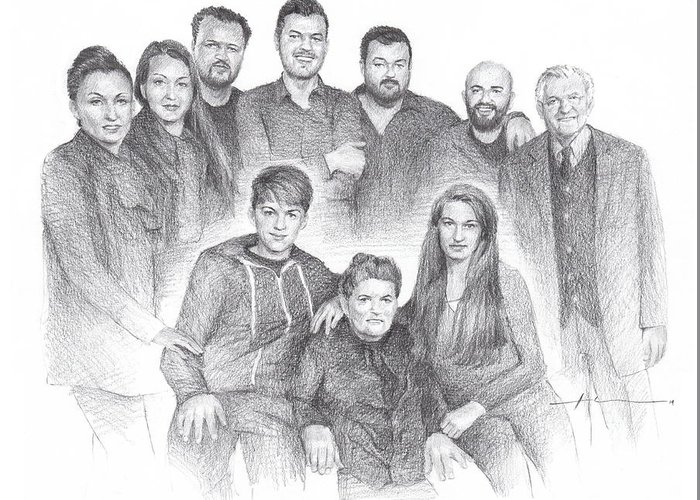Www.miketheuer.com Family Reunion Pencil Portrait Greeting Card featuring the drawing Family reunion pencil drawing by Mike Theuer