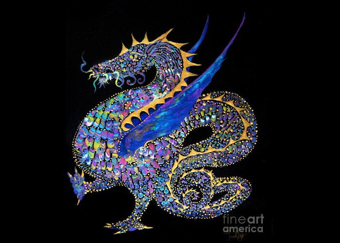 Dragon Fantasy-creature Dragon-illustration Winged-dragon Greeting Card featuring the painting Fancy Dragon 7333 by Priscilla Batzell Expressionist Art Studio Gallery