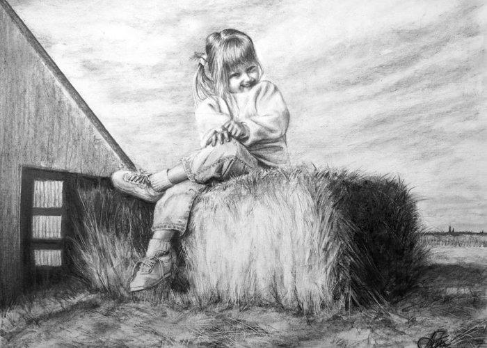 Farm Greeting Card featuring the drawing Farm Girl by Arthur Fix