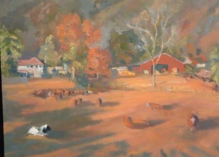 Award Winning Painting Greeting Card featuring the painting Farm On Cloverdale Road by Bryan Alexander