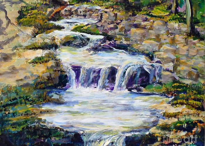 Los Angeles Greeting Card featuring the painting Fern Dell Creek Noon by Randy Sprout