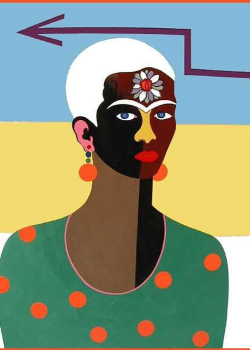 Pop Art Greeting Card featuring the painting Festive Frida by Ruby Persson