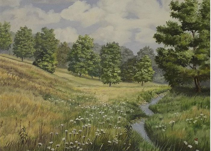 Cloudy Skies Greeting Card featuring the painting Field And Stream by Wanda Dansereau