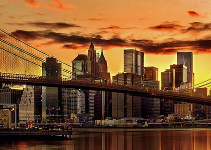 New York City Greeting Card featuring the photograph Fiery Sunset Over Manhattan by Az Jackson