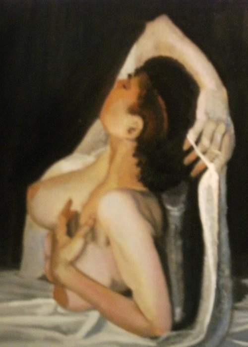 Nude Greeting Card featuring the painting Final For Contest Ix by John L Campbell