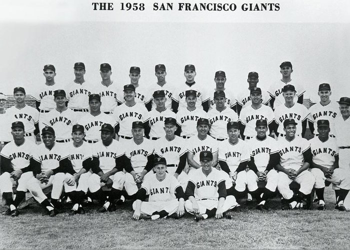 1958 Greeting Card featuring the photograph First SF Giants Team Portrait by Underwood Archives