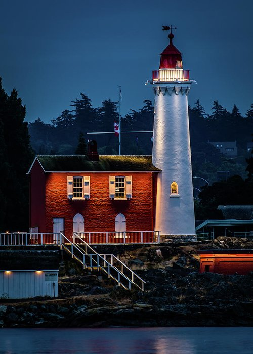 Lighthouse Greeting Card featuring the photograph Fisgard Lighthouse by William Christiansen