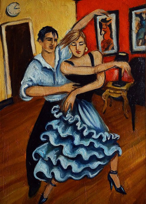 Dancers Greeting Card featuring the painting Flamenco by Valerie Vescovi