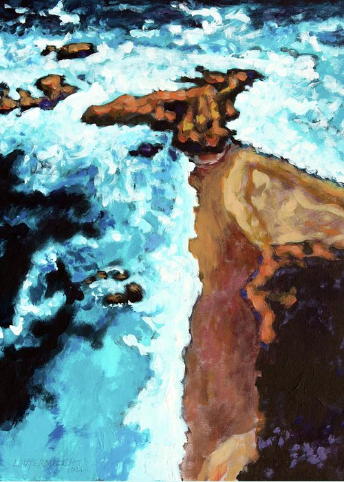 Ocean Greeting Card featuring the painting Flight Over Ocean by John Lautermilch