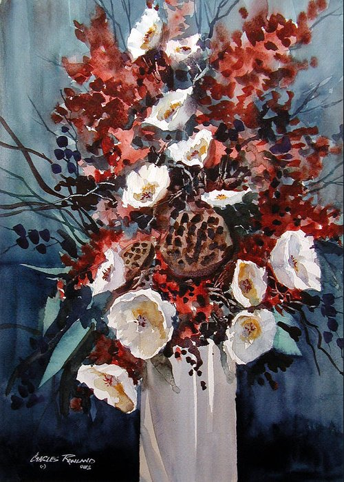 Floral Greeting Card featuring the painting Floral by Charles Rowland