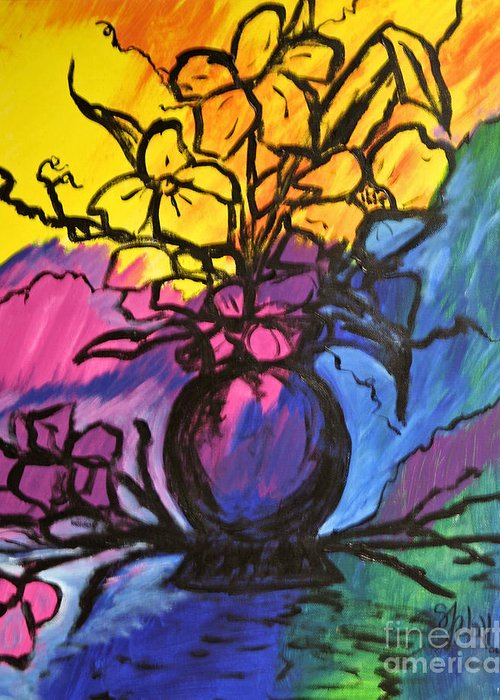 Floral Greeting Card featuring the painting Floral by Sheila J Hall