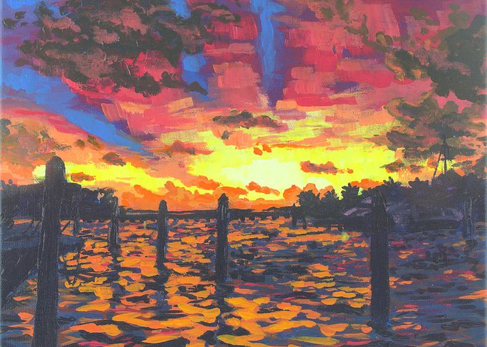 Sunset Greeting Card featuring the painting Florida Sunset by Allison Fox