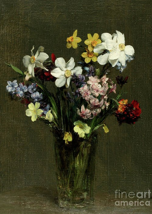 Still-life Greeting Card featuring the painting Flowers In A Vase, 1873 by Henri Fantin-Latour