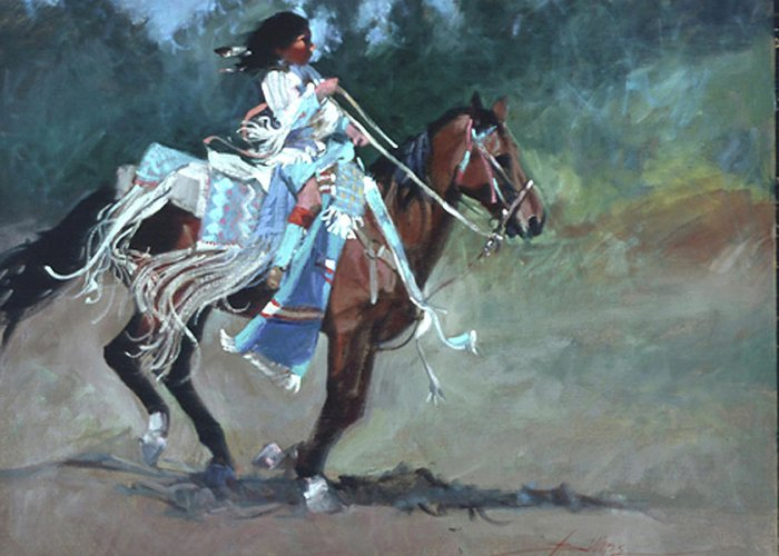 Native American Greeting Card featuring the painting Foot Loose by Betty Jean Billups