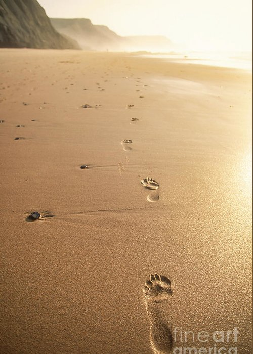 Footprint Greeting Card featuring the photograph Footprints In The Beach Sand by Neale And Judith Clark