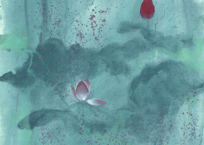Emerged Out Of The Sludge Greeting Card featuring the painting For the Love of Lotus by Mui-Joo Wee
