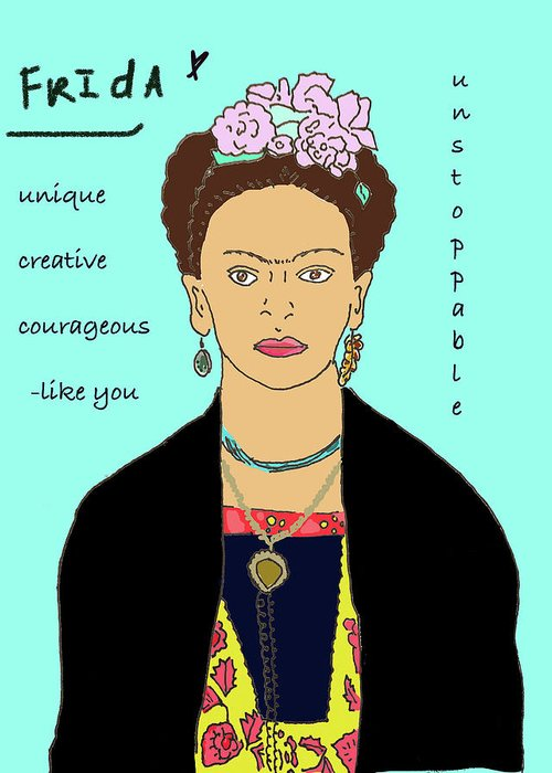 Frida Kahlo Greeting Card featuring the drawing Frida by Ashley Rice