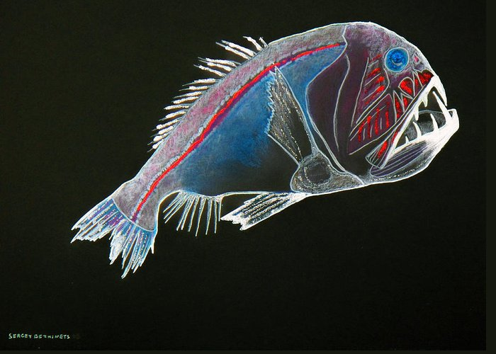 Fossil Greeting Card featuring the drawing From The Abyss by Sergey Bezhinets