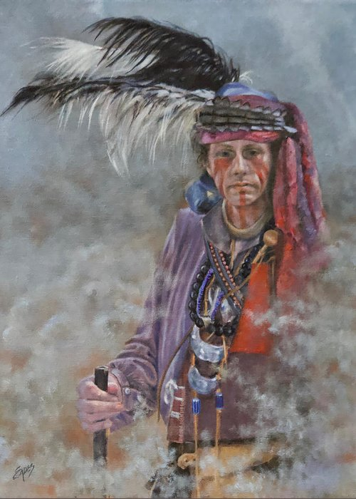Native American Greeting Card featuring the painting From the Fire by Linda Eades Blackburn