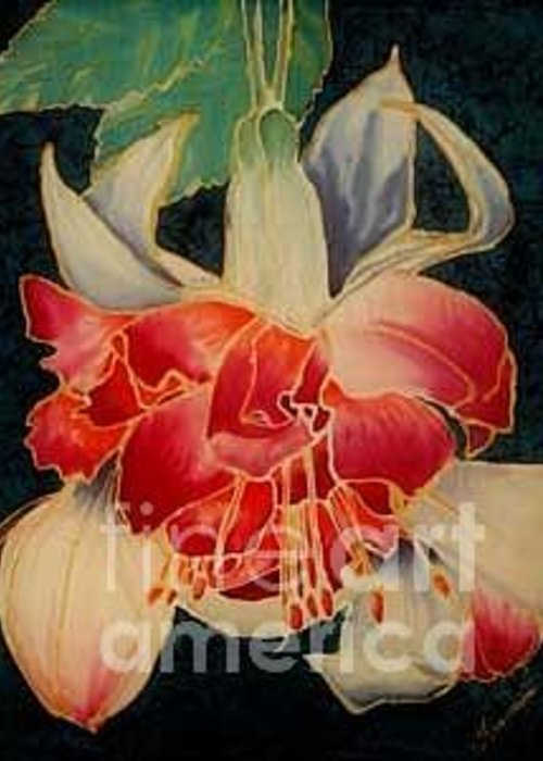 Fucshia Greeting Card featuring the painting Fucshia 2 by Francine Dufour Jones