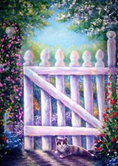 Whimsy Greeting Card featuring the painting Garden Gate Sentry by L Risor