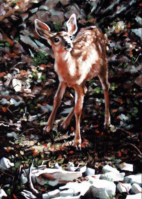 Deer Greeting Card featuring the painting Garden Ornament by Dianna Ponting