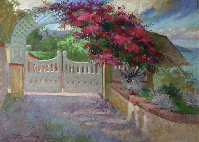 Catalina Island Greeting Card featuring the painting Gateway Splendor - Catalina Island by Betty Jean Billups