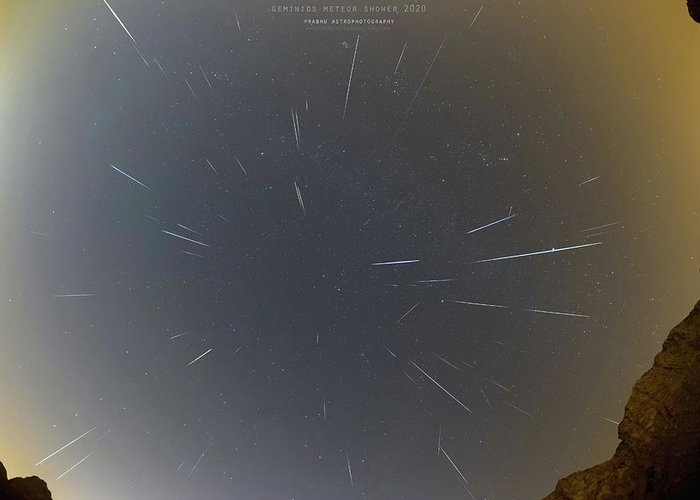 Greeting Card featuring the photograph Geminids Meteor Shower 2020 by Prabhu Astrophotography