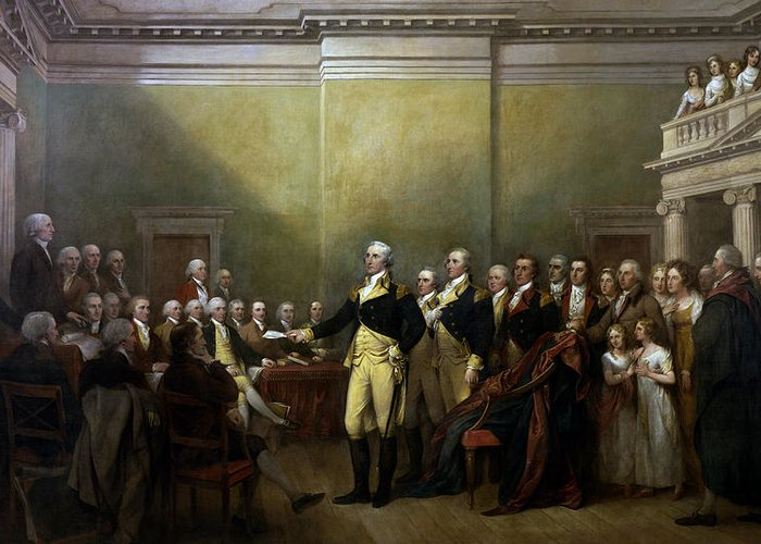 George Washington Greeting Card featuring the painting General Washington Resigning His Commission by War Is Hell Store
