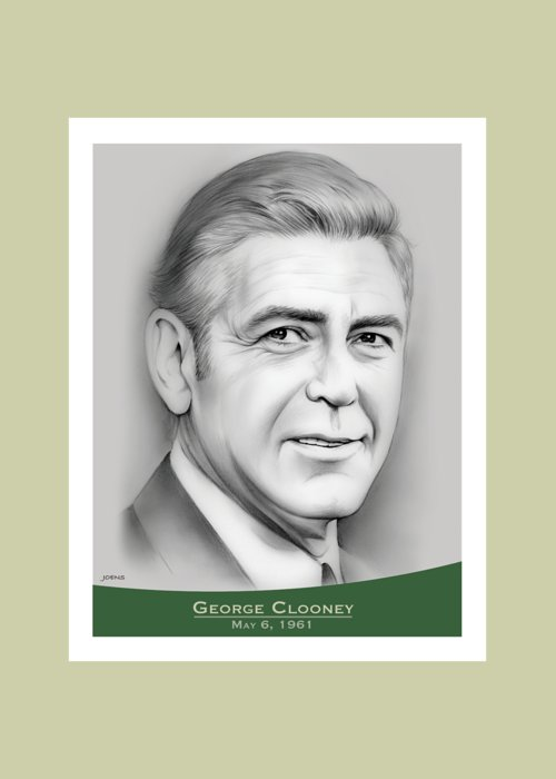 George Clooney Greeting Card featuring the drawing George Clooney birthday by Greg Joens