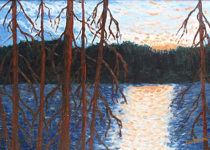 Setting Sun Greeting Card featuring the painting Georgian Bay Ghosts by Ian MacDonald