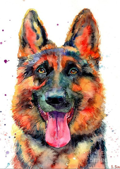German Shepherd Greeting Card featuring the painting German Shepherd Pet Portrait by Suzann Sines