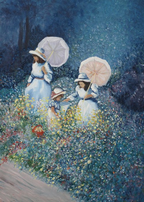 Floral Greeting Card featuring the painting Girls in Wildflowers by Barbara McDevitt