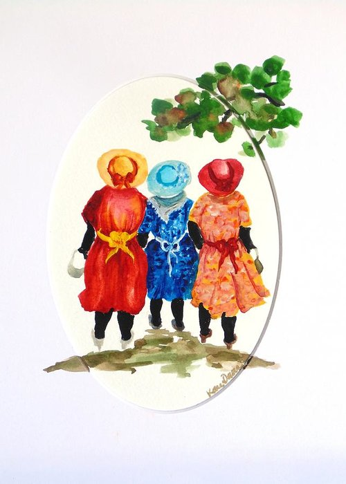 Three Women Caribbean Greeting Card featuring the painting Going to church by Karin Dawn Kelshall- Best