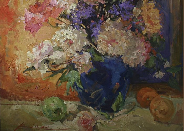 Floral Painting Greeting Card featuring the painting Golden Peonies by Betty Jean Billups