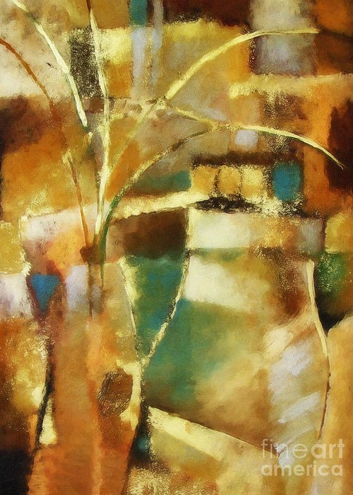 Abstract Painting Greeting Card featuring the painting Golden reflections by Lutz Baar