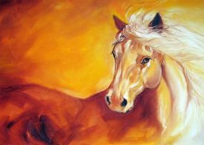 Horse Greeting Card featuring the painting Golden Solitude by Marcia Baldwin