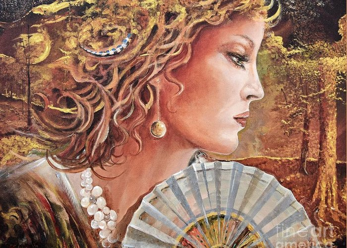 Female Portrait Greeting Card featuring the painting Golden Wood by Sinisa Saratlic